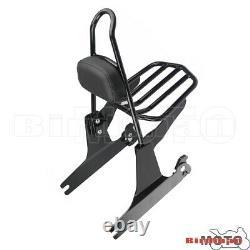 Black Sissy Bar Backrest with Flat Luggage Rack For Harley Dyna FXDC FXDL FXDX 02+