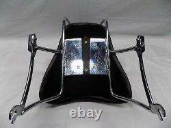 CHOPPER SECOND SEAT WITH SISSY BAR CHROME- BLK PAD 13.5 WIDE 9 FRONT to BACK