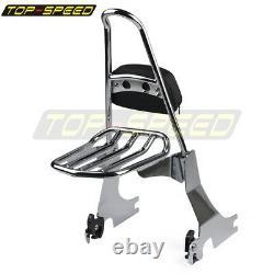 Chrome Backrest Sissy Bar Luggage Rack Kit For Harley Sportster 883 1200 94-03