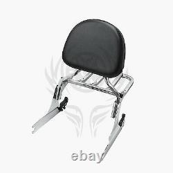 Chrome Backrest Sissy Bar and Rack for Harley Fatboy FLSTF 07-17 16