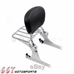 Chrome Detachable Backrest Sissy Bar & Luggage Race For Harley Dyna Street Bob