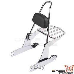 Chrome Detachable Backrest Sissy Bar & Luggage Rack For Harley Dyna FXD 2006-UP