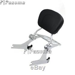 Chrome Detachable Backrest Sissy Bar Luggage Rack For Harley Dyna Low Rider FXDL