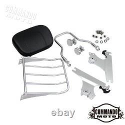 Chrome Detachable Backrest Sissy Bar&Luggage Rack For Harley Fat Boy FLSTF FXSTB