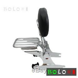 Chrome Detachable Backrest Sissy Bar & Luggage Rack For Harley Softail 2006-UP