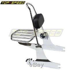 Chrome Detachable Backrest Sissy Bar Rear Luggage Rack For Harley Dyna 2002-2005