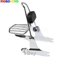 Chrome Detachable Backrest Sissy Bar Rear Luggage Rack For Harley Dyna 2006-UP