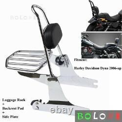 Chrome Detachable Rear Backrest Sissy Bar Luggage Rack For Harley Dyna 2006-2020