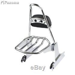 Chrome Detachable Sissy Bar Backrest & Luggage Rack For Harley Dyna 2006-Later