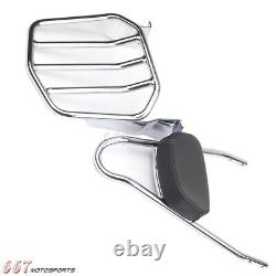Chrome Detachable Sissy Bar Backrest with Luggage Rack For Harley Dyna 2006-Up