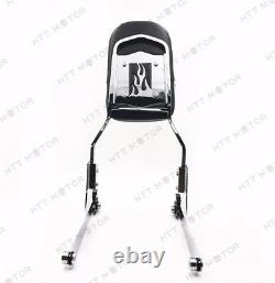 Chrome Flame Detachable Sissy Bar Backrest & Luggage Rack for Harley Softail FLH