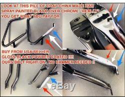 Chrome Harley Dyna Back Rest Sissybar & Rear Carrier Super Wide Glide Street Bob