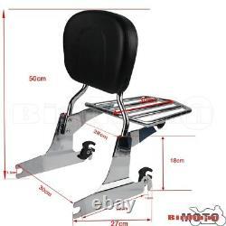 Chrome Luggage Rack Backrest Pad Sissy Bar For Harley Softail FatBoy FXSTB 05-UP