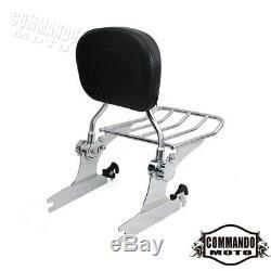 Chrome Motorcycle Detachable Rear Passenger Backrest Pad Sissy Bar Luggage Rack