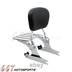 Chrome Sissy Bar Backrest Luggage Rack For Harley Heritage Softail FLSTC FXSTC