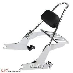 Chrome Sissy Bar Backrest with Luggage Rack For Harley Dyna Wide Glide 2006-Up