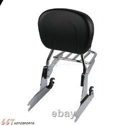 Chrome Sissy Bar Luggage Rack Backrest For Harley Dyna FXDB FXDL FXD FXDC FXDWG