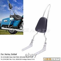 Chrome Sissy Bar Passenger Backrest with Pad For Harley Softail Deluxe FLDE 18-20