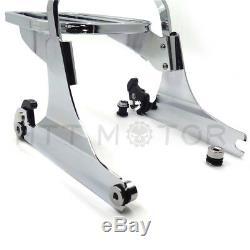 Chrome Skull Detachable Sissy Bar Backrest & Luggage Rack for Harley Softail FLH