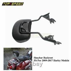 Detachable Backrest Sissy Bar For Harley Touring Street Glide Road Glide 2009-17