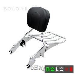 Detachable Backrest Sissy Bar & Luggage Rack Fit For Harley Touring Models 09-17