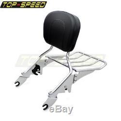 Detachable Backrest Sissy Bar Luggage Rack For 09-UP Road King Street/Road Glide