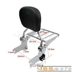 Detachable Backrest Sissy Bar Luggage Rack For Harley 97-08 Road King FLHT FLHX