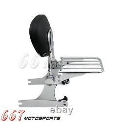Detachable Backrest Sissy Bar & Luggage Rack For Harley Dyna Super Glide 2006-19