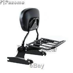 Detachable Backrest Sissy Bar Luggage Rack For Harley FLSTF FLSTFB FLSTSE 07-Up
