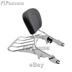 Detachable Backrest Sissy Bar & Luggage Rack For Harley Road Glide Custom FLTRX