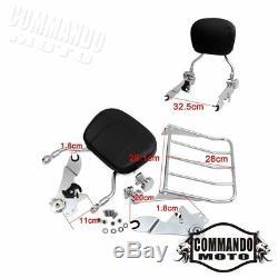 Detachable Backrest Sissy Bar&Luggage Rack For Harley Road King FLHR 2009-2017