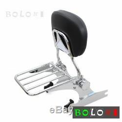 Detachable Backrest Sissy Bar&Luggage Rack For Harley Softail Custom FXSTC 2006+