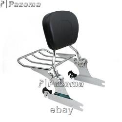 Detachable Backrest Sissy Bar Luggage Rack For Harley Softail Deluxe FLSTN 05-15