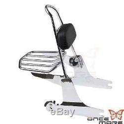 Detachable Backrest Sissy Bar Luggage Rack For Harley Softail FLSTN FLSTC 00-05