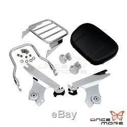 Detachable Backrest Sissy Bar & Luggage Rack For Harley Softail FLST FXST 00-06