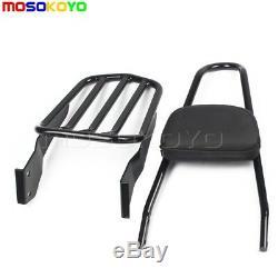 Detachable Backrest Sissy Bar Luggage Rack For Harley Sportster 883 1200 94-03
