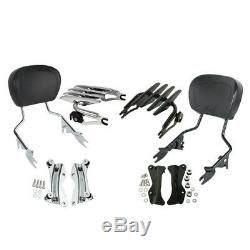 Detachable Backrest Sissy Bar Luggage Rack For Harley Touring 2014-2020 19 18 17