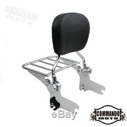 Detachable Backrest Sissy Bar&Luggage Rack For Harley Touring Road King 1997-08