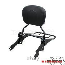 Detachable Backrest Sissy Bar Luggage Rack For Harley Touring Road Street Glide
