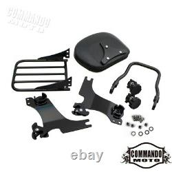 Detachable Backrest Sissy Bar Luggage Rack combo For Harley Sportster XL 94-Up