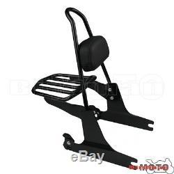 Detachable Backrest Sissy Bar Pad Black Rear Luggage Rack For Harley Dyna 06-UP