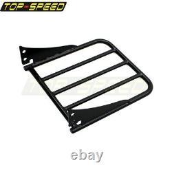 Detachable Backrest Sissy Bar Pad Rear Luggage Rack For 06-up Harley FXST FXSTB