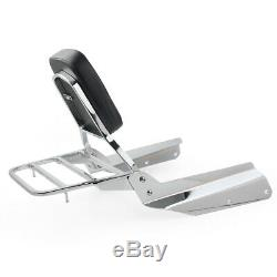 Detachable Backrest Sissy Bar Pad Rear Luggage Rack For Honda VTX 1300C Chrome