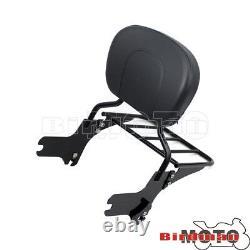 Detachable Backrest Sissy Bar WithLuggage Rack For For Harley Road King FLHR 97-08