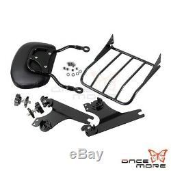 Detachable Backrest Sissy Bar WithLuggage Rack For Harley Softail Deluxe FLSTN