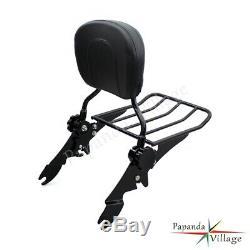 Detachable Backrest Sissy Bar With Luggage Rack For Harley Davidson Touring 97-08