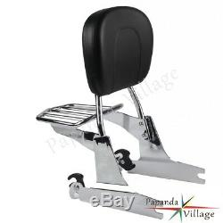 Detachable Backrest Sissy Bar withLuggage Rack For Harley Davidson Softail 2000-05