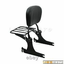 Detachable Backrest Sissy Bar with Luggage Rack For Harley Dyna FXDL FXDB 02-05