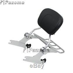 Detachable Backrest Sissy Bar with Luggage Rack For Harley FLSTF FLSTFB 07-Later