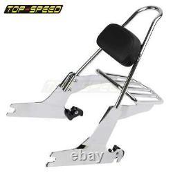 Detachable Backrest Sissy bar & Luggage Rack For Harley Softail Slim FLS Fat Boy